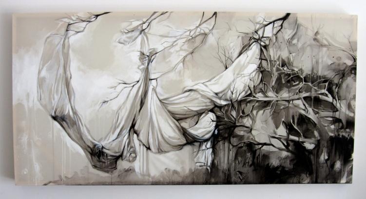 """Filling Space II, Acrylic on Silk, 72""""x36"""", 2012"""