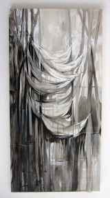"Filling Space I, Acrylic on Silk, 36""x72"", 2012"