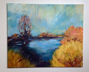 "Walking Alone, Acrylic on canvas, 20"" x 24"" 2014"