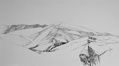 "Horizon Lines Pen and ink on paper 22"" x 210"" 2014"