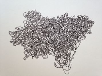 """Mind Map III Pen and ink on paper 12"""" x 15"""" 2014"""