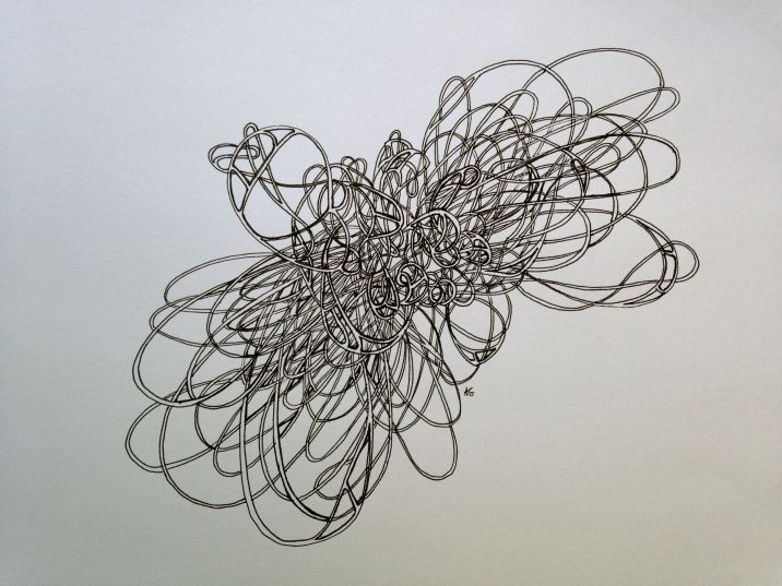 """Mind Map I, Pen and ink on paper 12"""" x 15"""" 2014"""