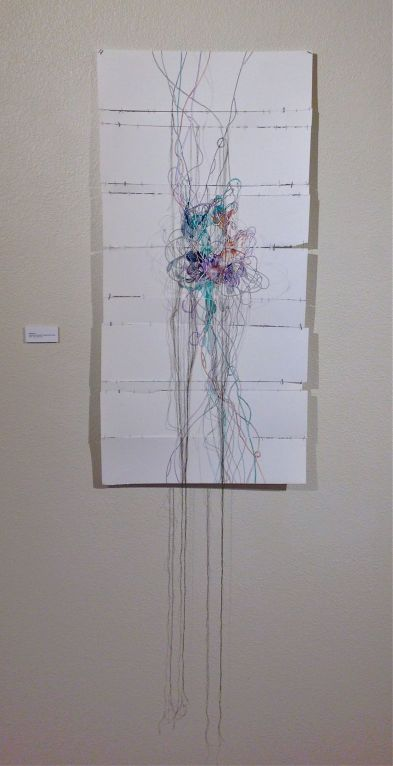 """Maelstrom, Watercolor and salt on paper with thread, 18.5"""" x 38"""" 2014"""