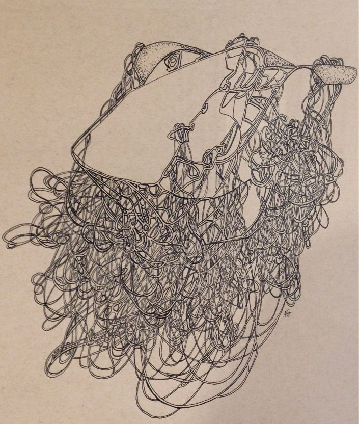 """Skein II, Pen and ink on paper 18"""" x 22.5"""" 2014"""