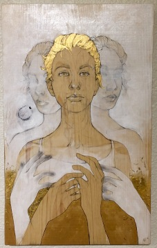 You See, I Want a Lot, Graphite, acrylic paint, soot and gold leaf on wooden panel, 2016