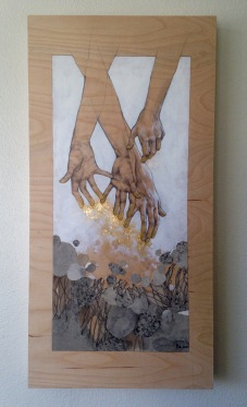 To Have Without Holding, Graphite, acrylic paint, golf leaf and soot-covered paper on wooden panel, 2016