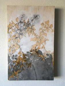The Vine, Graphite, ink, acrylic paint, golf leaf and soot-covered paper on wooden panel, 2016