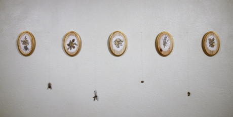Found and Lost Treasures I, II, III, IV, V, Graphite, ink, acrylic paint and gold leaf on wooden panel, 2016