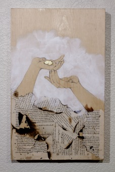 The Voyage Out, Graphite, acrylic paint, golf leaf and burned paper on wooden panel, 2016