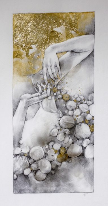 The Release, Graphite, acrylic paint and gold leaf on paper, 2016